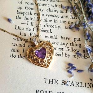 Vintage 14k Gold Heart Necklace Amethyst Diamond